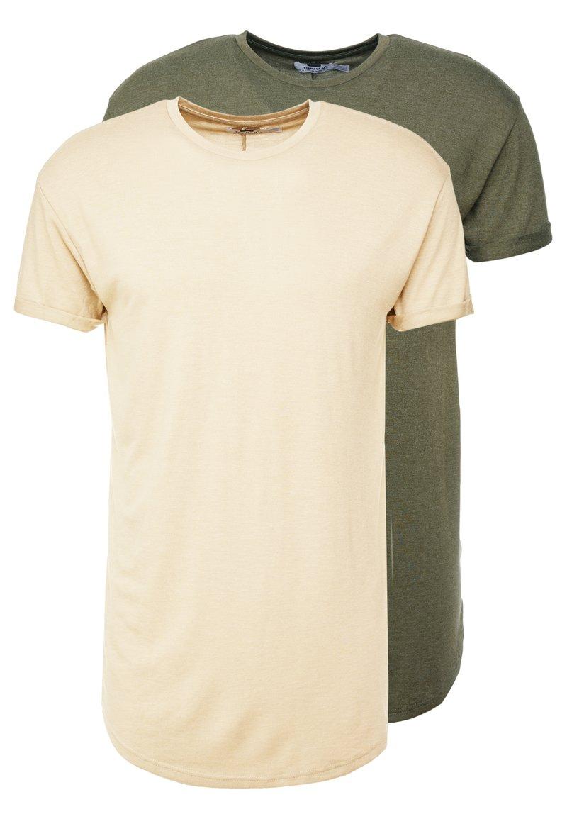Topman - SCOTTY 2 PACK - Basic T-shirt - beige/khaki