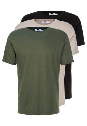 3 PACK - T-shirt - bas - beige/khaki/black