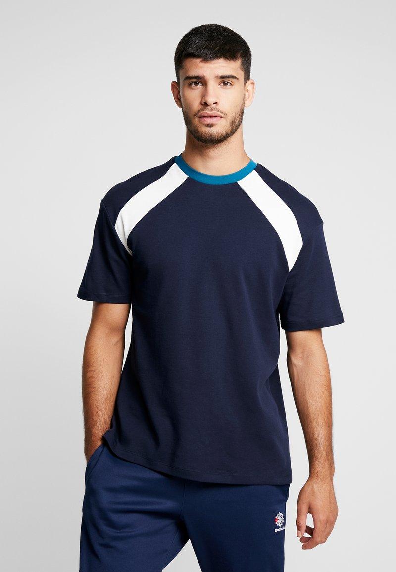 Topman - NAVETHAN PANEL INTLOCK - T-Shirt print - navy