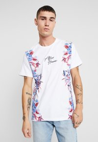 Topman - SIDE FLORAL TEE - T-shirt med print - white - 0