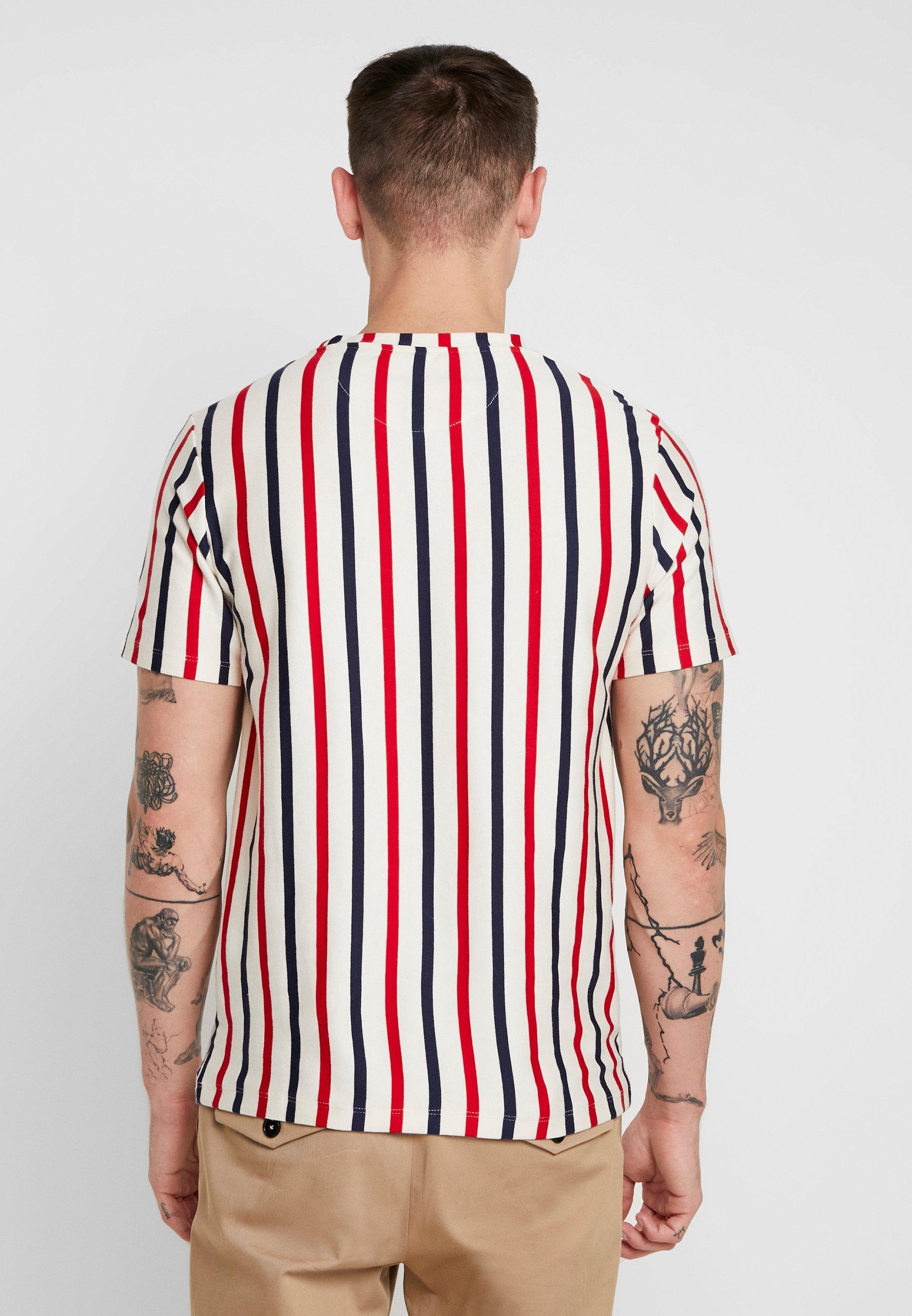 Stipe TeeT shirt Ecru Topman Smart white Imprimé Off KlF13TJc