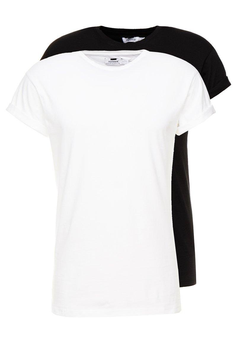 Topman - 2 PACK - Jednoduché triko - black/white