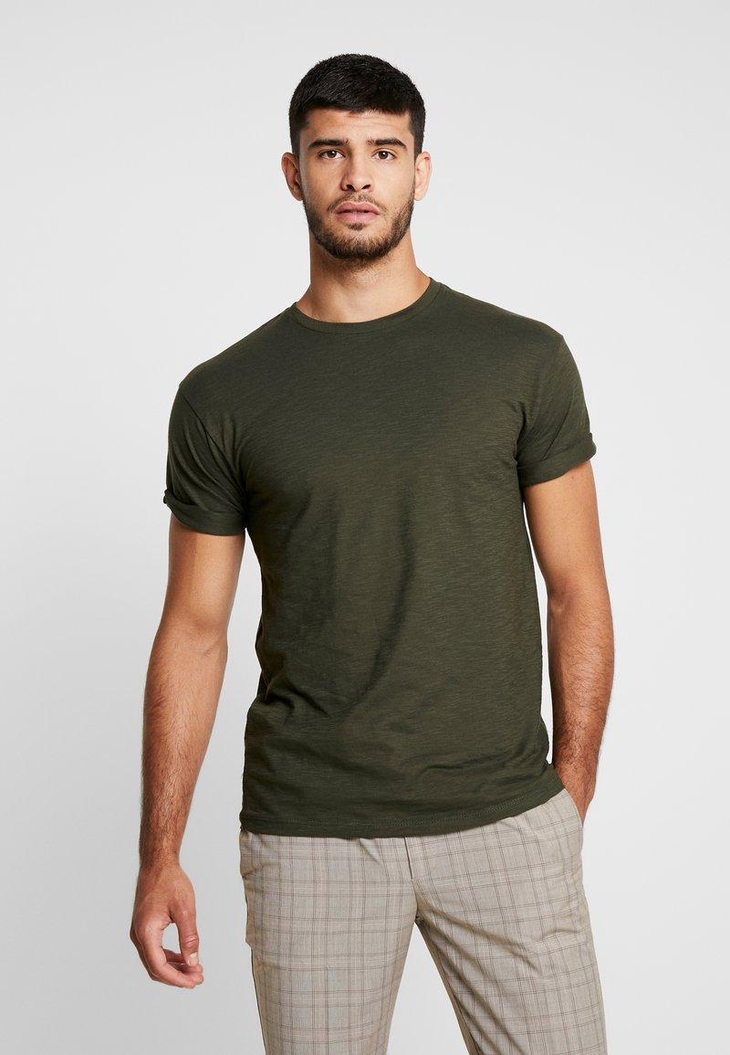 Topman - SKIN SLUB  - T-shirts - khaki
