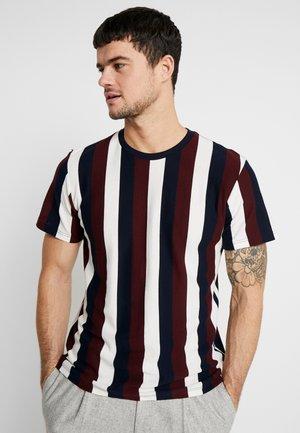 MIX VERTICAL STRIPE - Print T-shirt - bordeaux