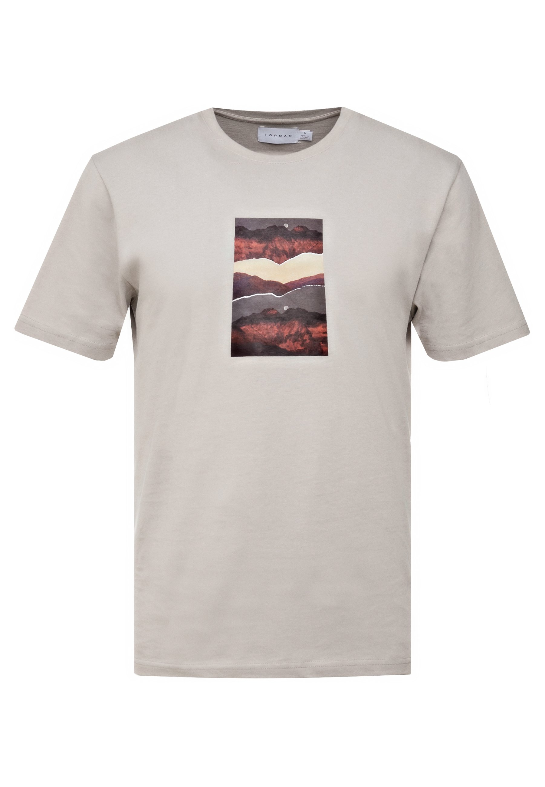 Topman MOUNTAIN GRAPHIC TEE - T-shirt imprimé - stone