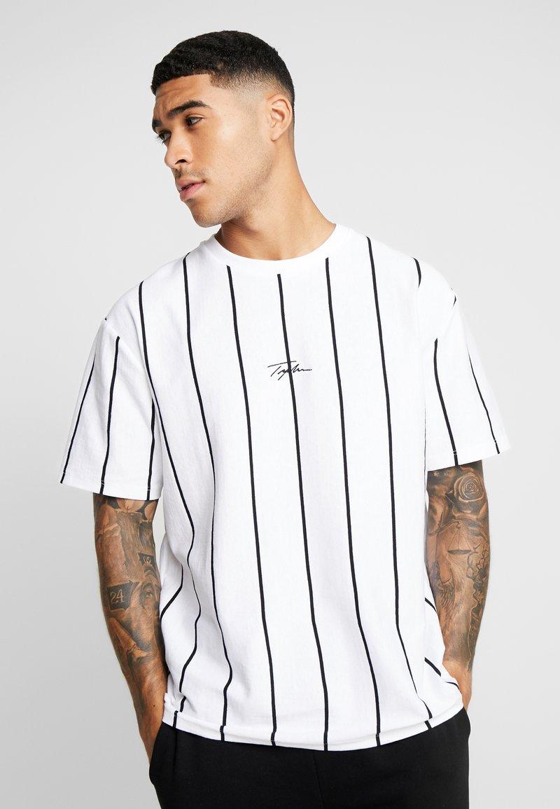 Topman - STRIPE SIGNATURE TEE - T-shirt con stampa - white