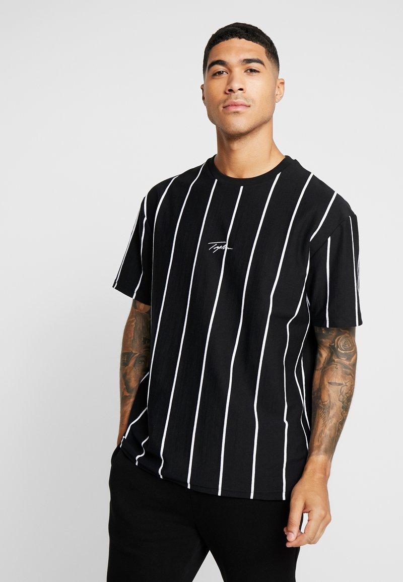 Topman - STRIPE SIGNATURE TEE - T-shirt con stampa - black