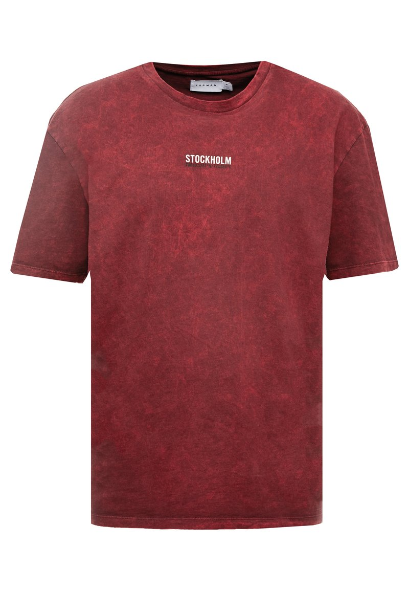 Topman - STOCKHOLM DESTINATION TEE - T-shirts med print - burgundy