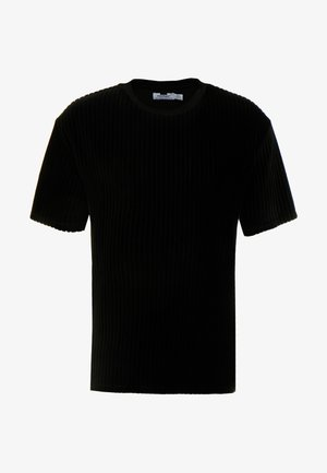 BURN OUT STRIPE TEE - Basic T-shirt - black