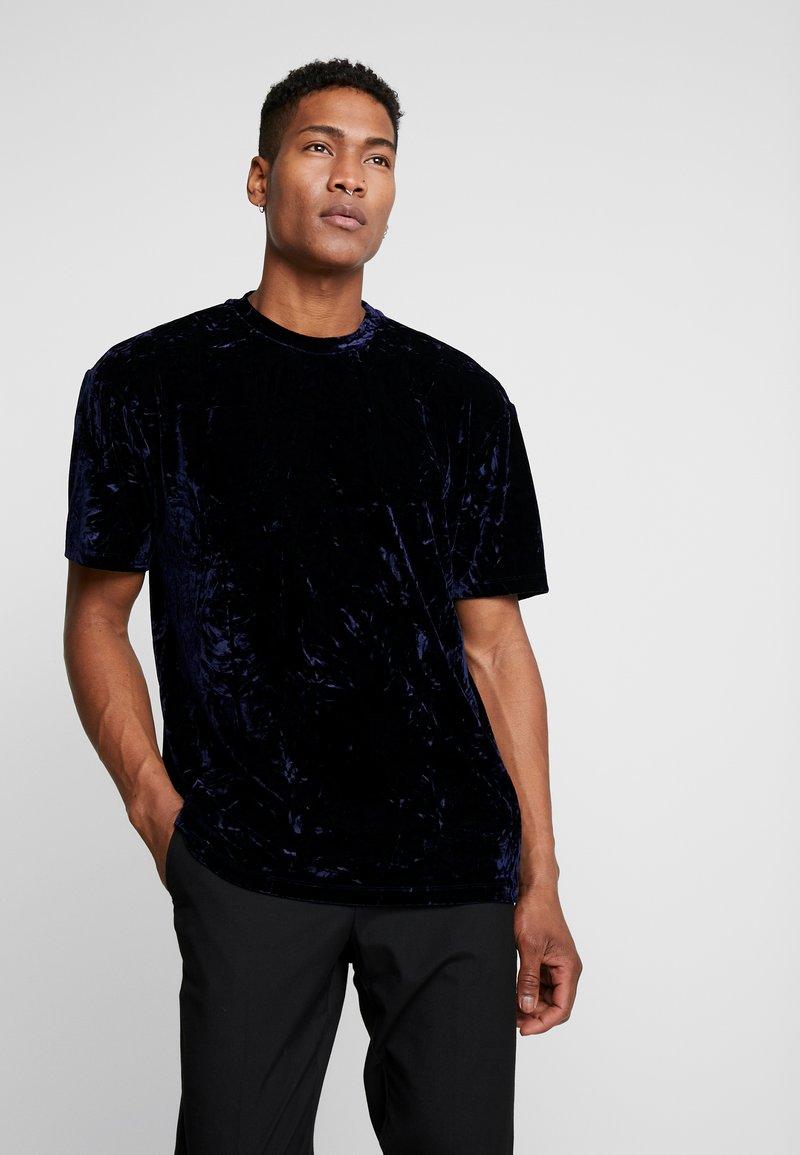 Topman - CRUSHED TEE - T-shirt print - navy