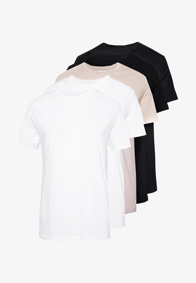 CLASSIC 5 PACK - T-shirt basic - black/white/stone