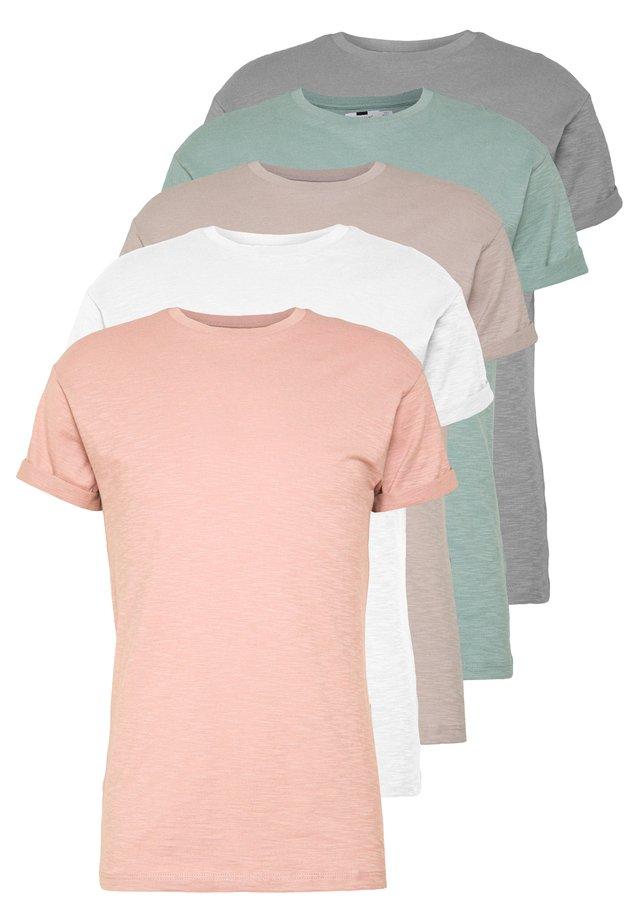 5 PACK - T-shirt basique - white/grey/pink/stone/sage