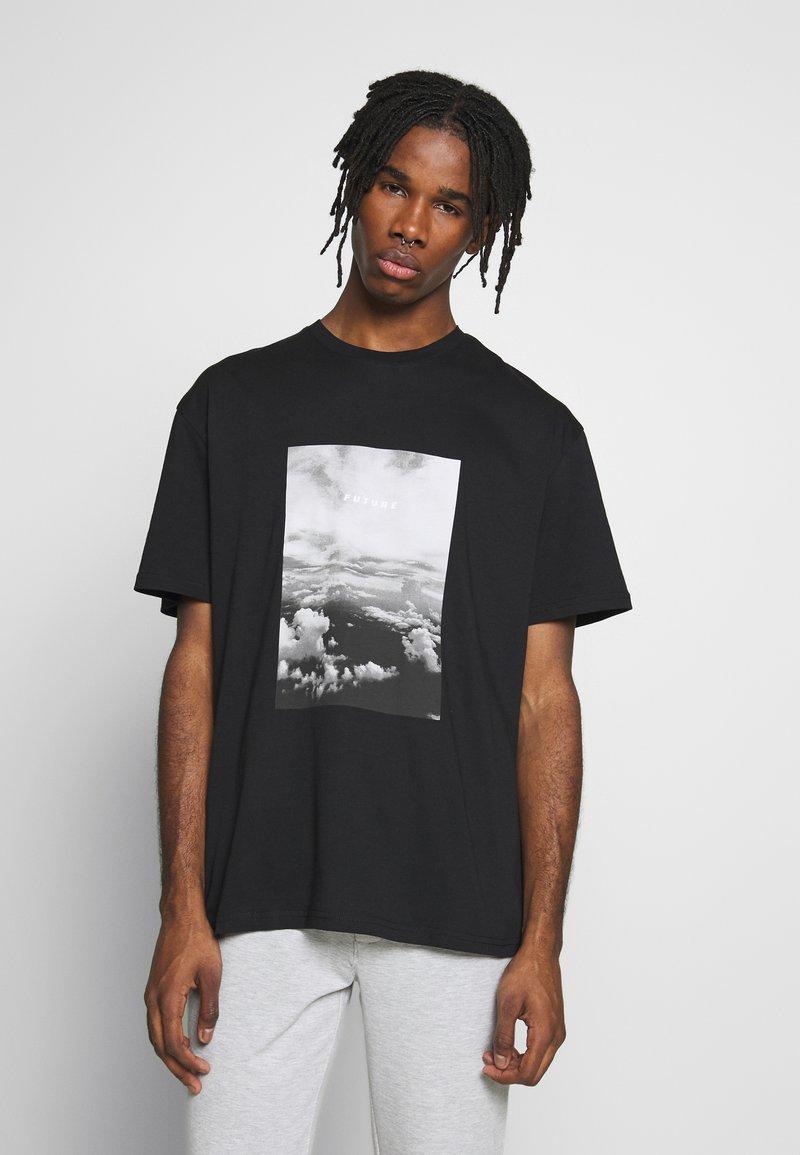 Topman - MONO TEE - T-shirt med print - black
