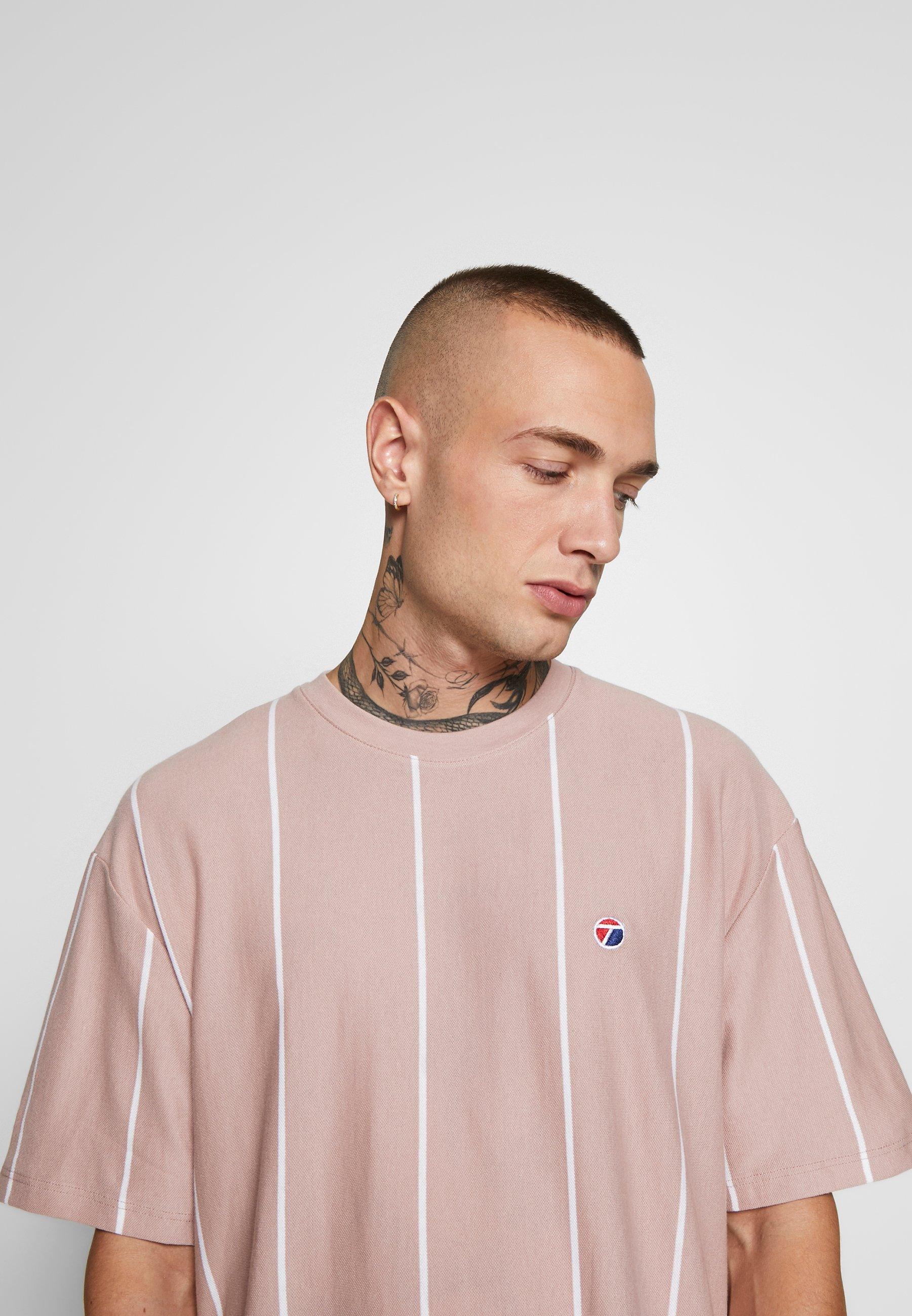 Topman STRIPE TEE - T-shirt z nadrukiem - pink