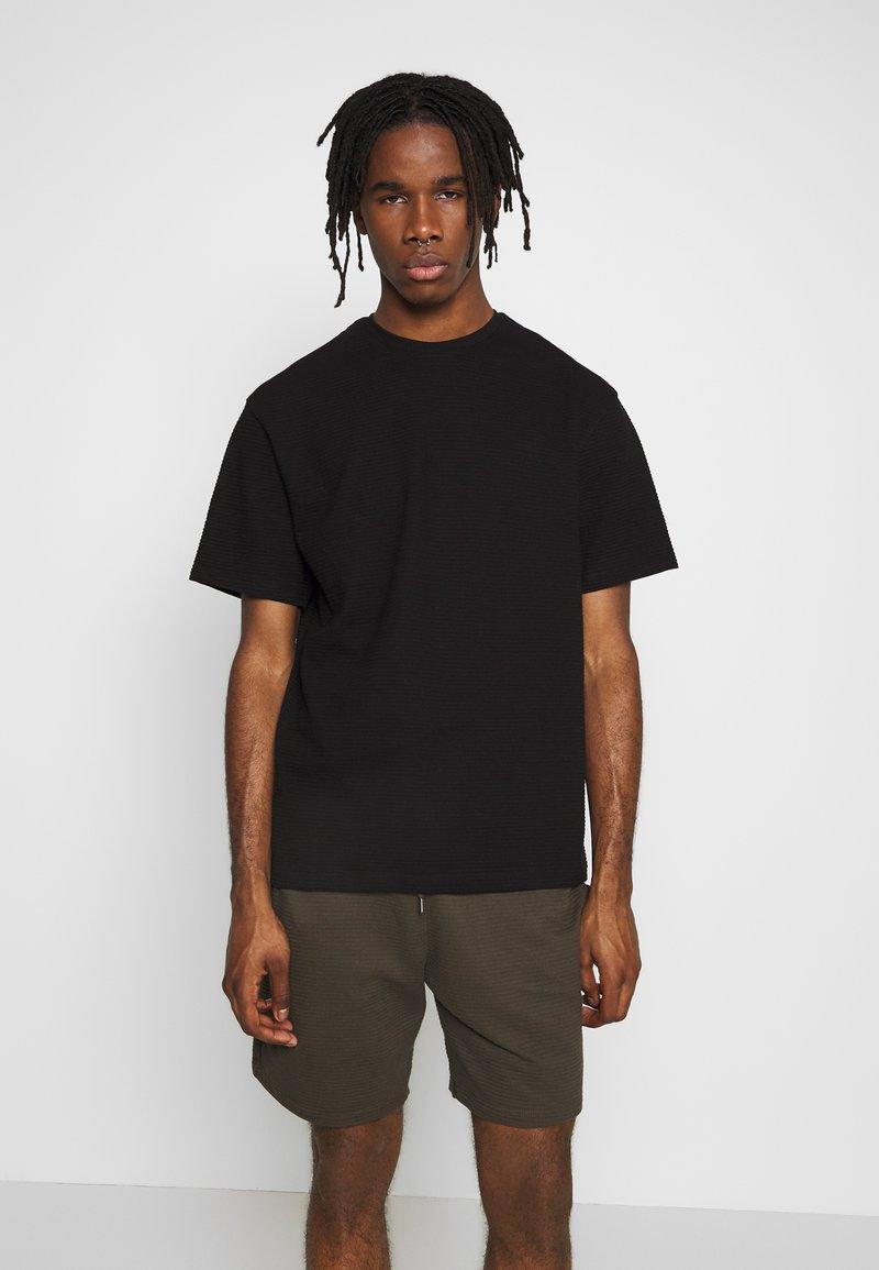 Topman - STRUCTURED TEE - T-shirt basic - black