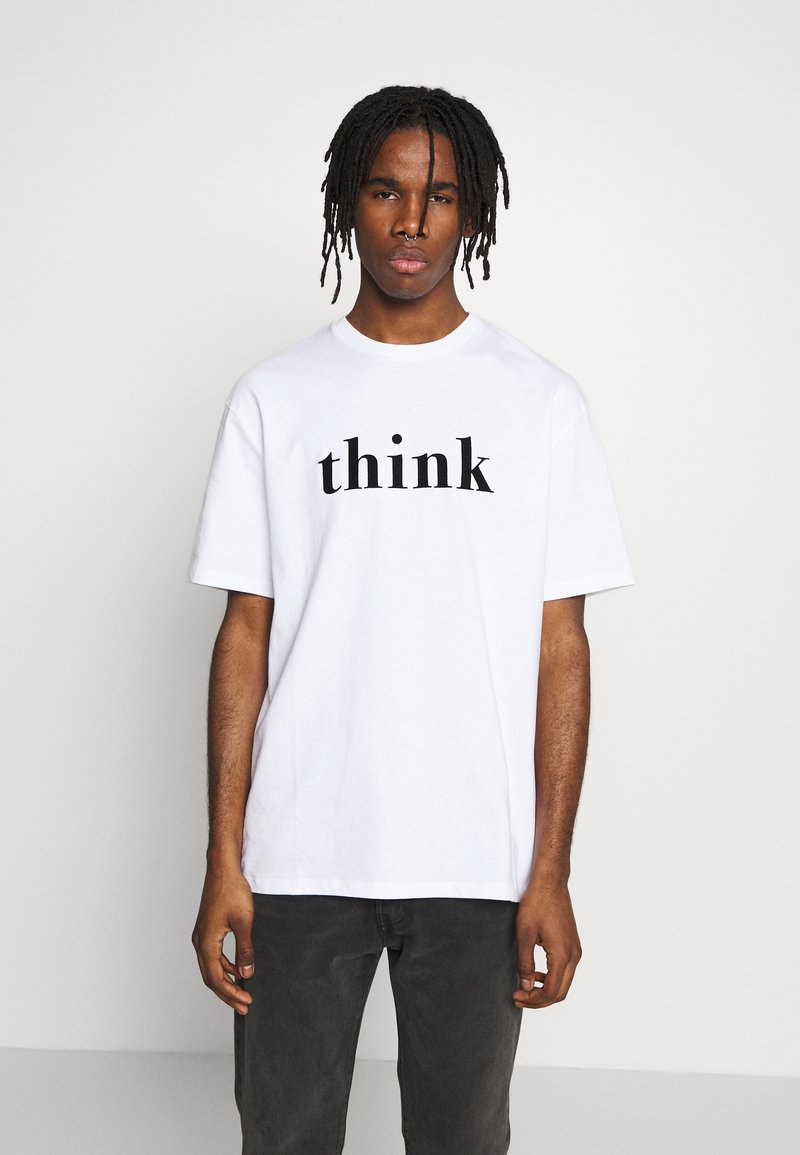 Topman - UNISEX THINK SLOGAN TEE - T-shirt imprimé - white