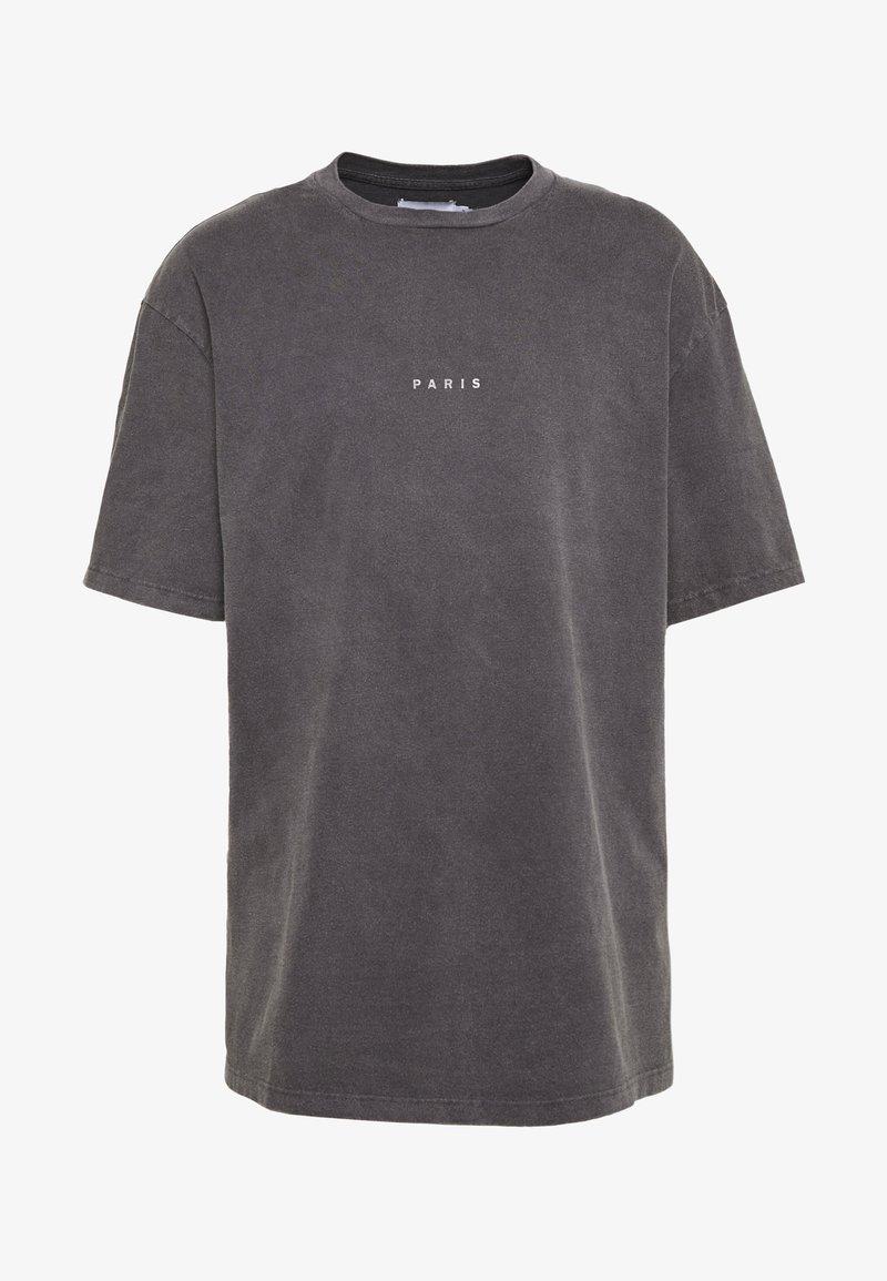Topman - UNISEX PARIS PUFF WASH - T-shirt print - black