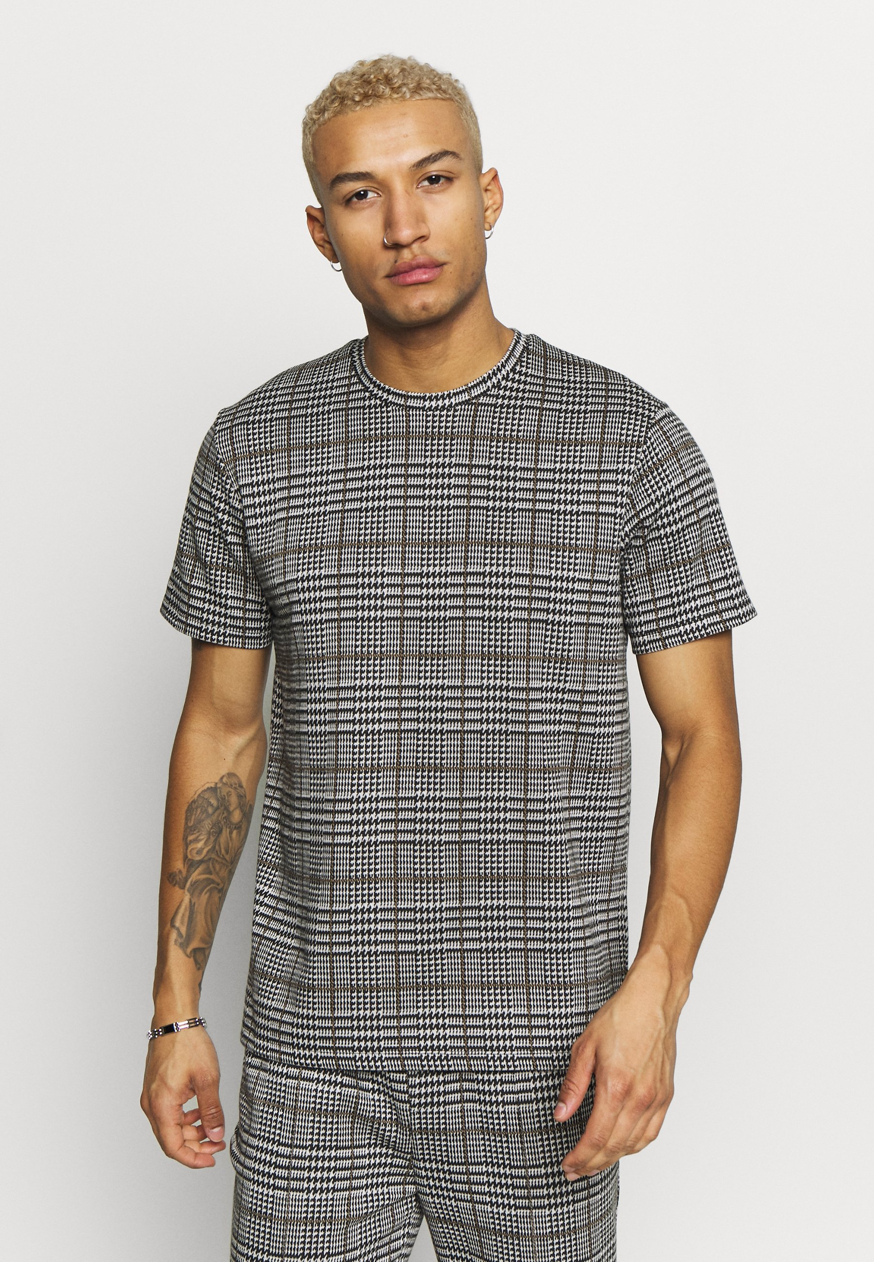 Topman CHECK TEE - T-shirt z nadrukiem - grey