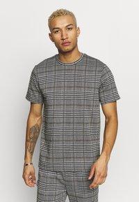 Topman - CHECK TEE - T-shirt con stampa - grey - 0