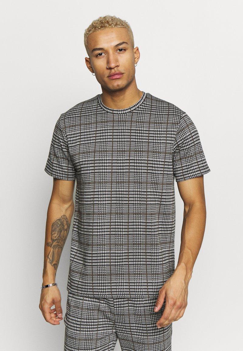 Topman - CHECK TEE - T-shirt con stampa - grey