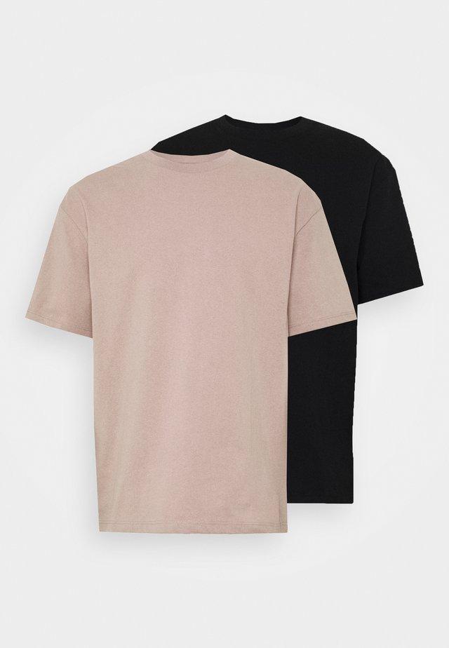 2 PACK  - T-shirt - bas - black/stone/grey