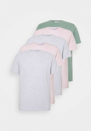 5 PACK - T-shirt basic - grey/green/off-white