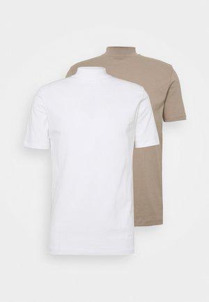 2 PACK - T-paita - white/khaki