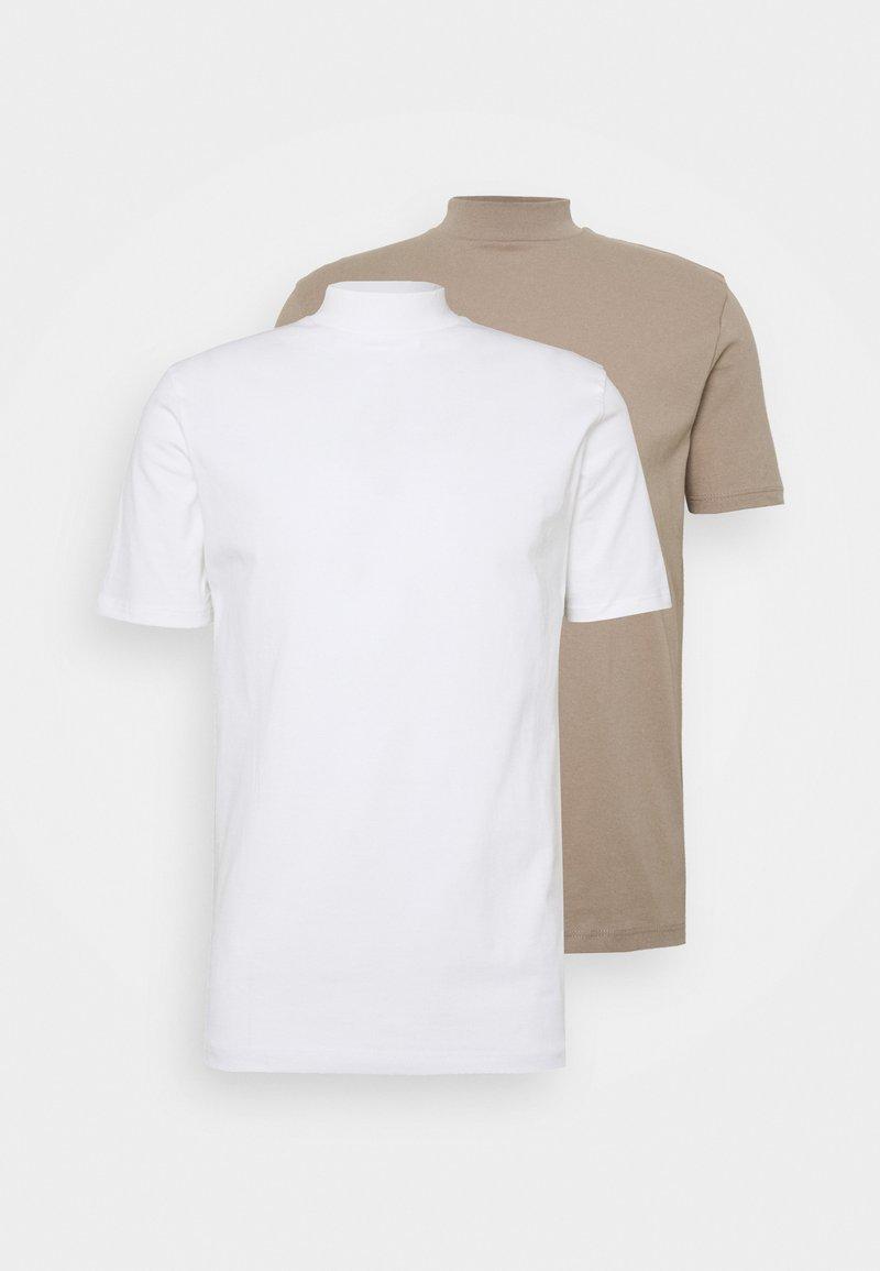 Topman - 2 PACK - T-shirt basic - white/khaki