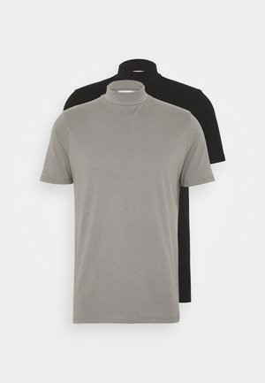 2 PACK - T-shirt basic - black/grey