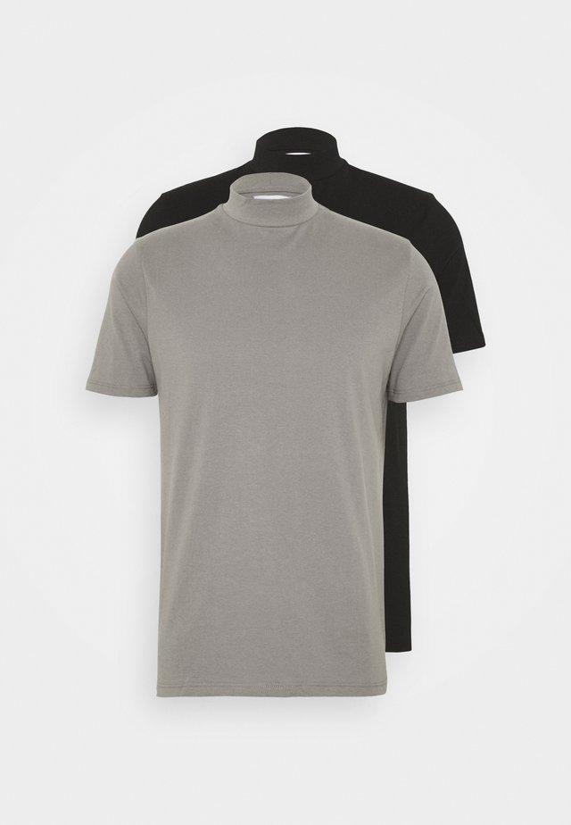 2 PACK - T-shirts - black/grey