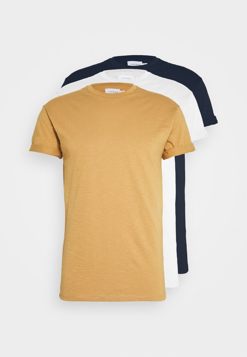 Topman - T-shirt basic - white/khaki/stone