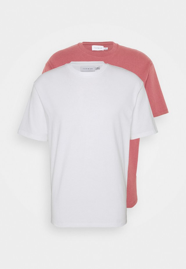 2 PACK - T-shirt basic - white/light pink