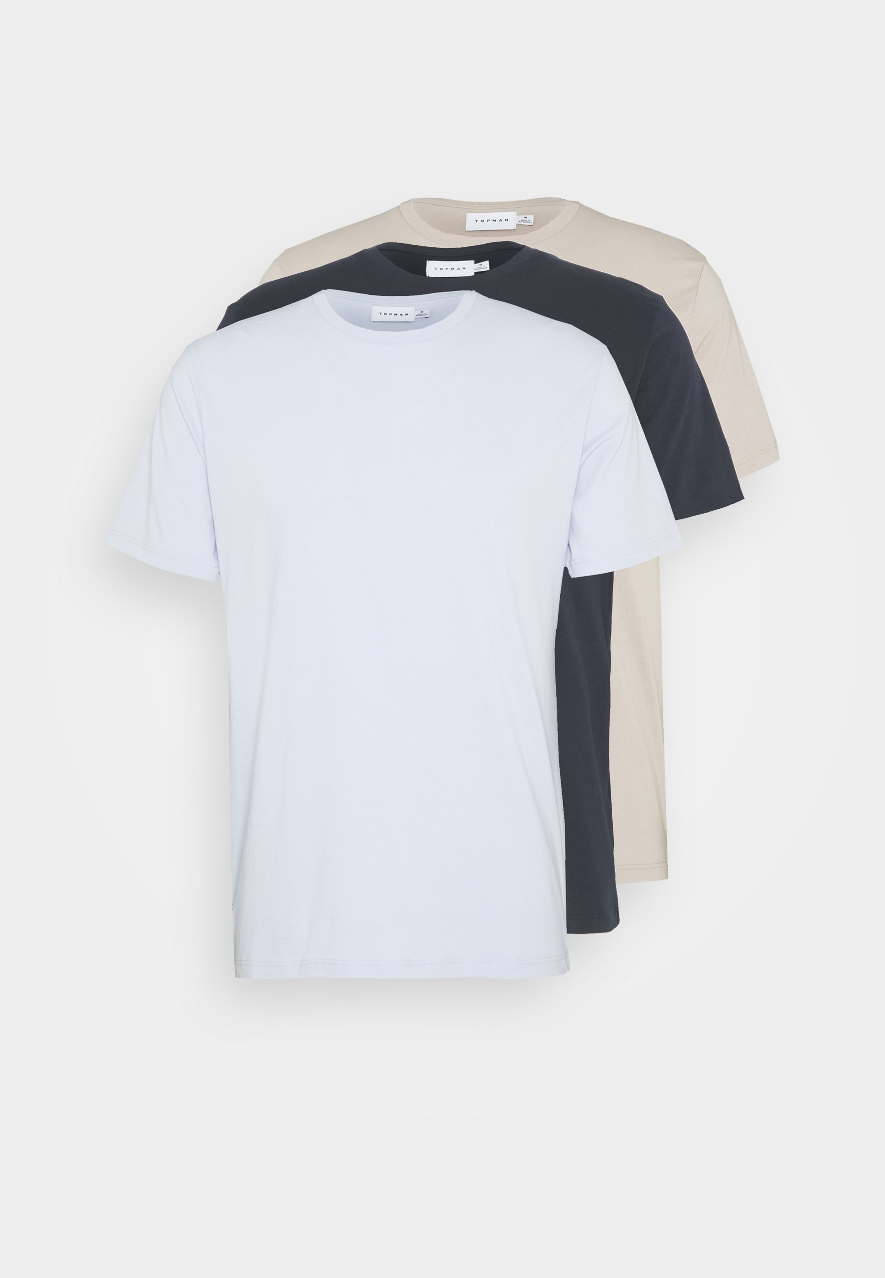 Topman 3 PACK - T-shirts - dark blue/stone/blue