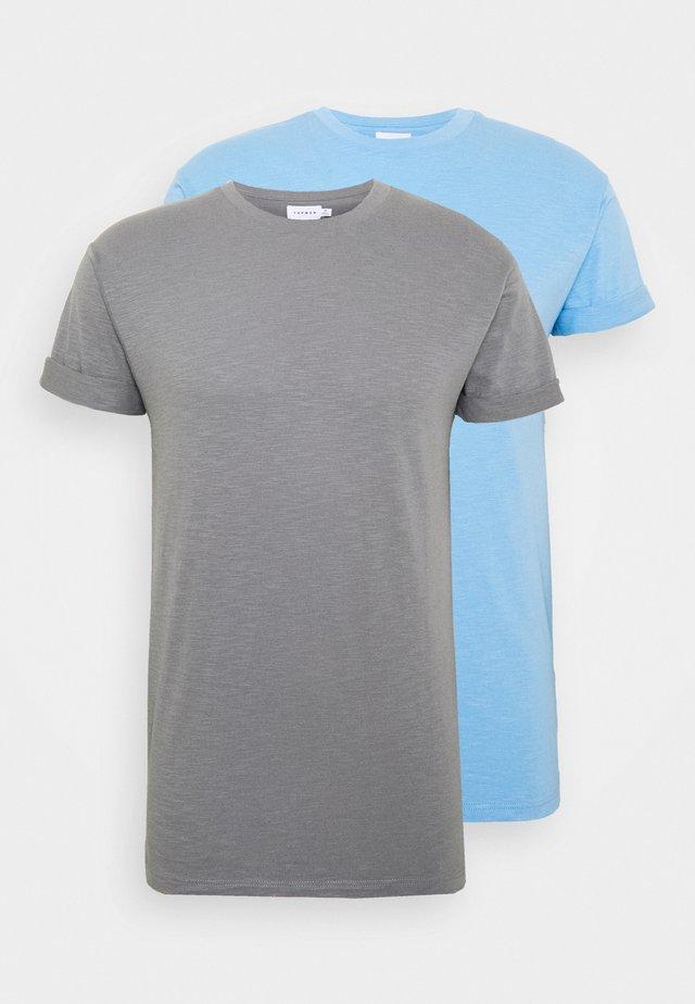 2 PACK - T-shirt basic - grey/blue