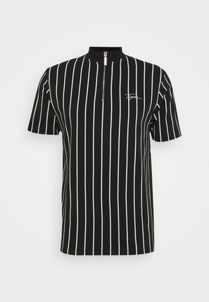 STRIPE ZIP SIGNATURE TURTLE - T-shirt imprimé - black