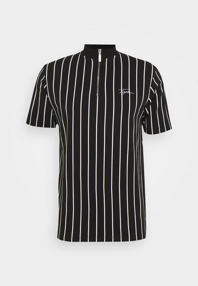 STRIPE ZIP SIGNATURE TURTLE - T-shirt med print - black