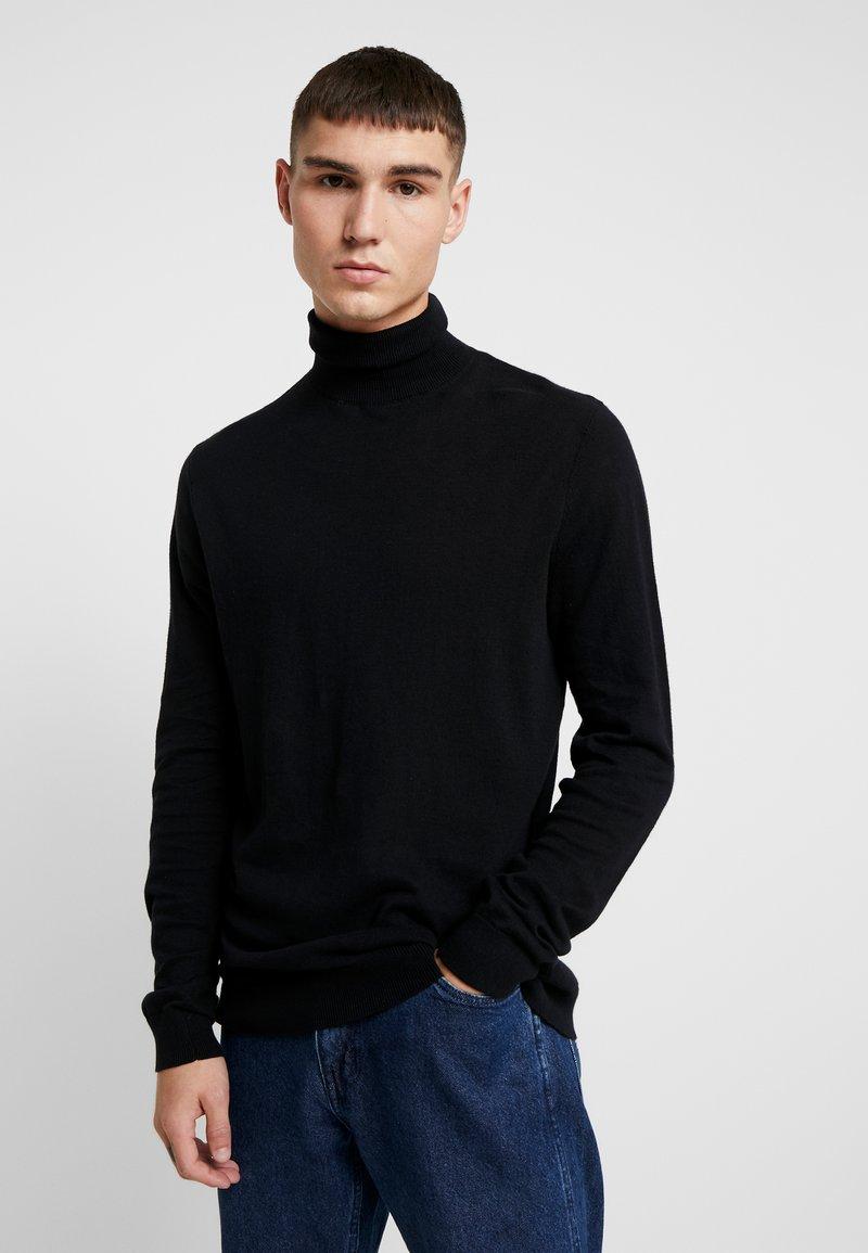 Topman - ROLL NECK - Strickpullover - black