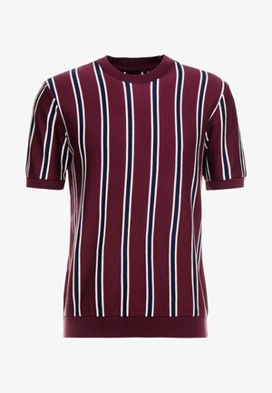 STRIPE CREW - T-shirt - bas - burgundy