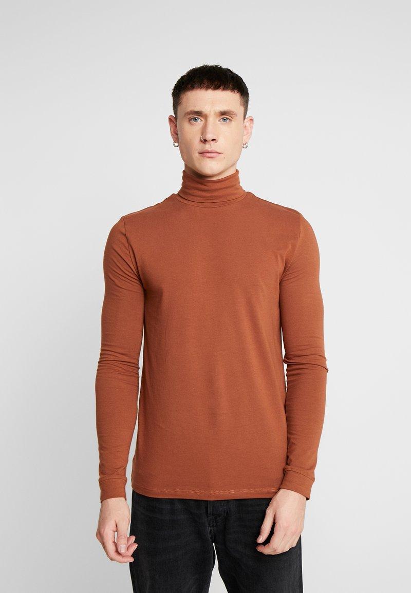 Topman - ALMOND ROLL NECK - Longsleeve - brown