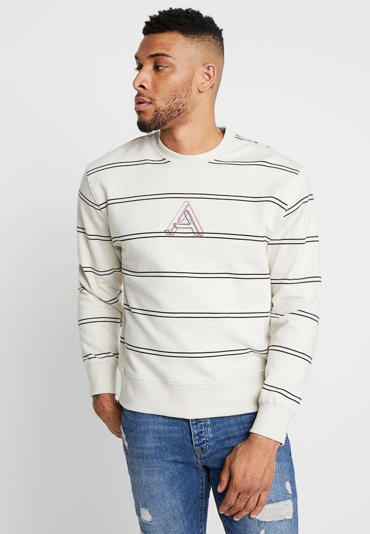 Topman - STRIPE PRINT - Sweatshirt - white