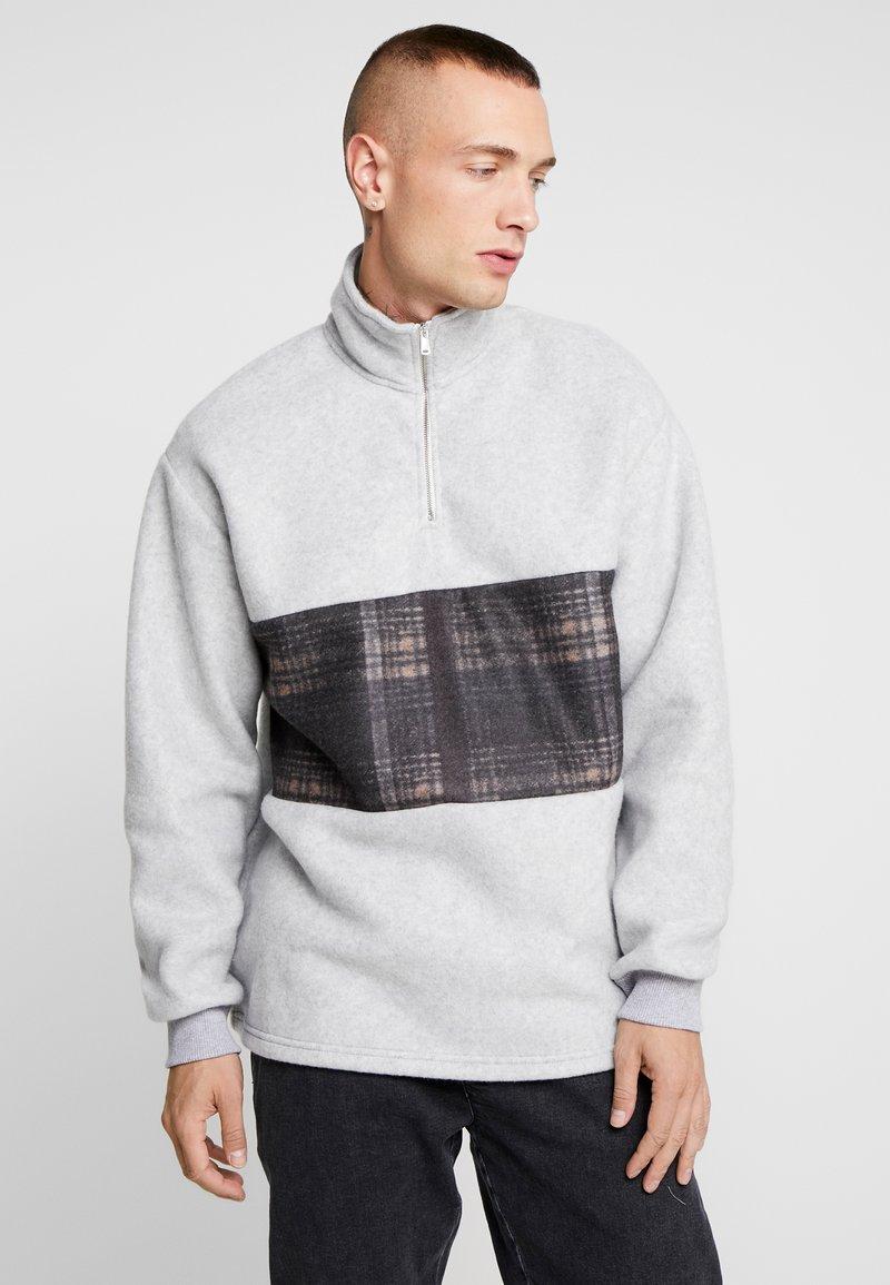 Topman - CHECKED PANEL - Fleecepullover - grey