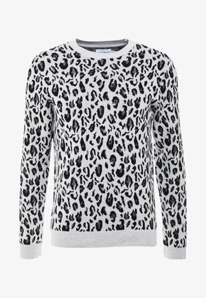 BRUSHED LEOPARD CREW - Pullover - charcoal