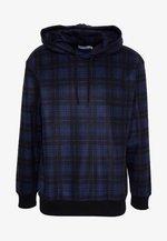 CHECK BRUSHED HOOD - Hoodie - dark blue