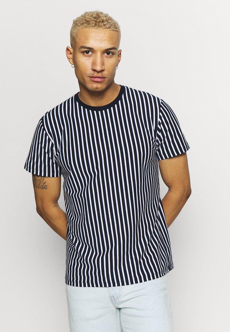 Topman - HARRY STRIPE - T-shirt con stampa - navy
