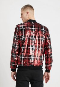 Topman - CHECK SEQUIN - Bomber Jacket - red - 2
