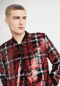 Topman - CHECK SEQUIN - Bomber Jacket - red - 4