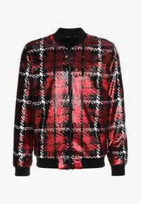 Topman - CHECK SEQUIN - Bomber Jacket - red - 3