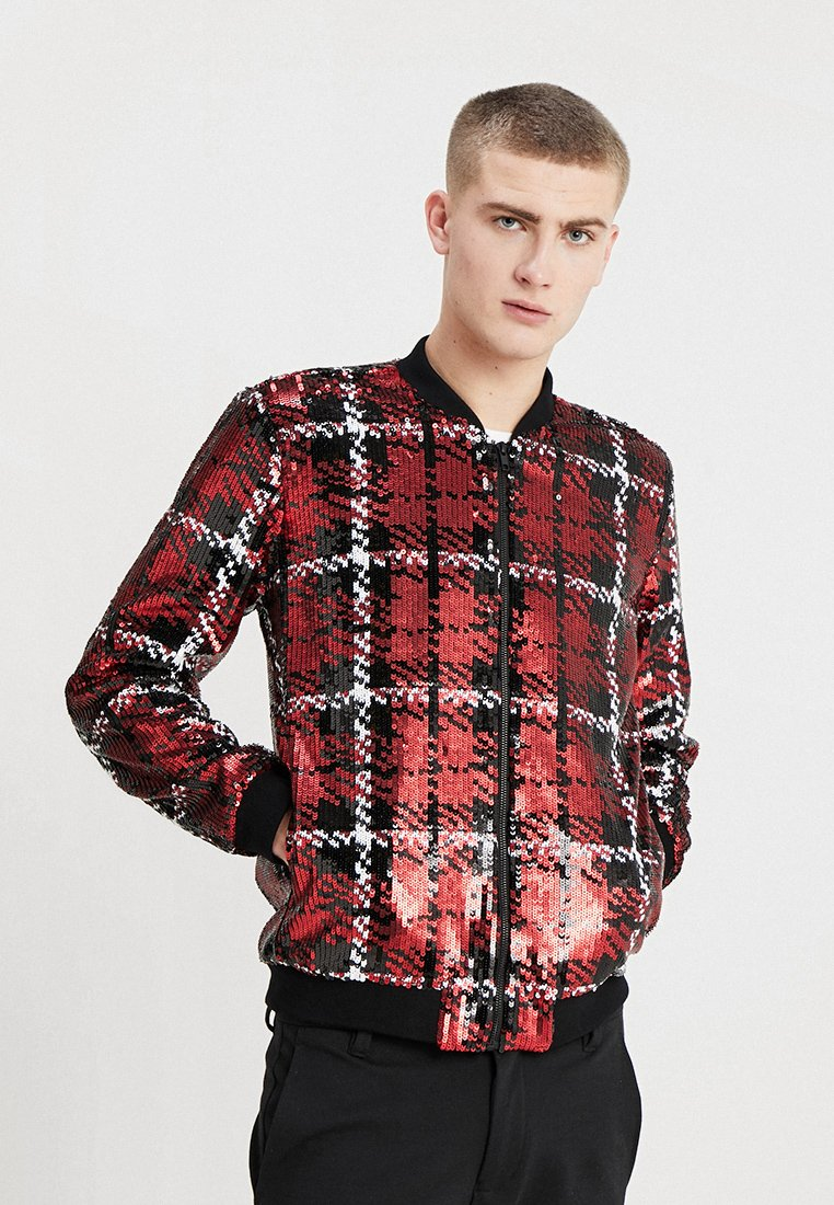 Topman - CHECK SEQUIN - Bomber Jacket - red