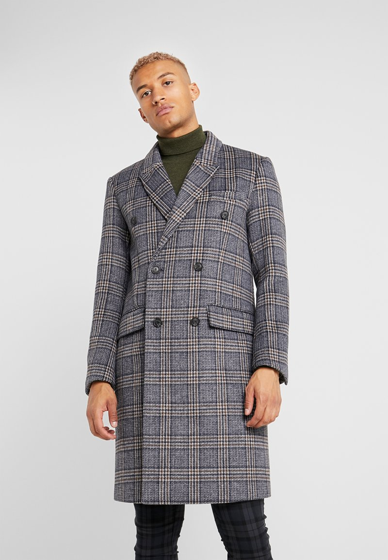 Topman - BLUE CHECK DOUBLE BREASTED - Abrigo - brown