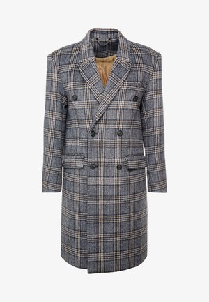 BLUE CHECK DOUBLE BREASTED - Classic coat - brown